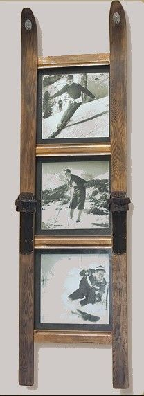 Framed ski art at Vintage Snow. Our gorgeous 3 pane frame of vintage skis with 3 vintage ski photographs for a stunning addition to your ski home. Ski Lodge Decor, Decoration Palette, Deco Restaurant, Ideas Hogar, Snow Skiing, Repurposed Furniture, Furniture Ideas, Rustic Decor, Vintage Ski Decor