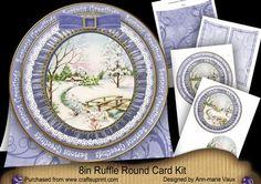 Snowscene Seasons Greetings 8in Round Ruffle Mini Card Kit on Craftsuprint - Add To Basket!
