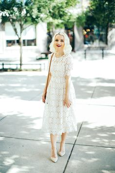Dressing up is fun when you have the prettiest white lace midi dress to wear! Cathy shares her new favorite look over on Poor Little It Girl!