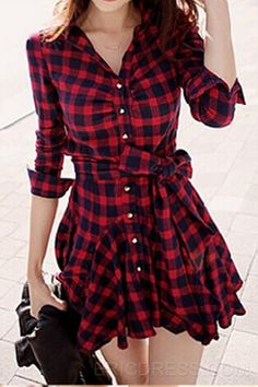 Temperament Red Plaid Long-sleeved Dress Casual Dresses