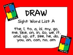JD's Rockin' Readers: DRAW- Sight word game similar to UNO- FREE