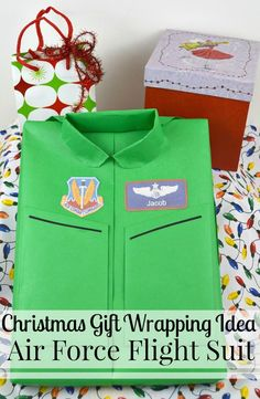 A creative gift wrapping idea of making an Air Force Flight suit is perfect for a fun Christmas gift wrapping idea or for any occasion. Christmas Gifts For Friends, Teacher Christmas Gifts, Christmas Stocking Stuffers, Christmas Gift Guide, Christmas Gift Wrapping, Holiday Gifts, Christmas Holidays, Teacher Gifts, Christmas Crafts