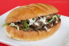 Cheesesteak Sandwiches - Our Best Bites cookbook uses 1 pound boneless steak, green bell pepper, onion, sliced provolone cheese. Seasoned Fries, Meat Sandwich, Wrap Sandwiches, Steak Sandwiches, Football Food, Beef Dishes, Freezer Meals, Easy Meals, Freezer Cooking