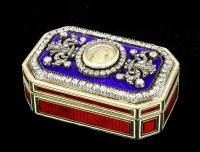 """A good George IV gold enamel and diamond set octagonal """"Royalist"""" snuff box, the lid with blue enamel set with a central oval cartouche containing a gold coloured medallion bearing the profile of Charles I, worded """"CAROLVS SECUNDUS"""", with in diamond set borders, the red and white enamel sides with canted corners, hallmark London circa 1821    The Canterbury Auction Galleries"""