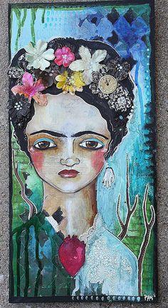 Mixed Media Place: Frida canvas by Cristin