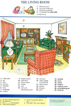 10 - THE LIVING ROOM - Pictures dictionary - English Study, explanations, free exercises, speaking, listening, grammar lessons, reading, writing, vocabulary, dictionary and teaching materials