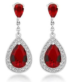 Tuscany Silver Red And White Cz Teardrop Earrings Http