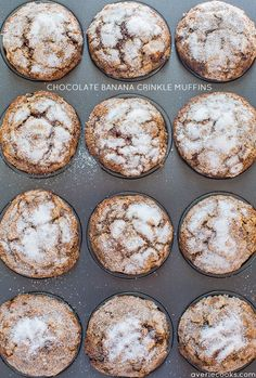 Chocolate Banana Crinkle Muffins - Have ripe bananas to use? Make these easy, no mixer chocolate beauties!…