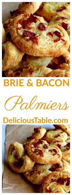 3 ingredient Brie and Bacon Palmiers made in minutes with crispy puff pastry, bacon, and melted brie. Bake in 15 minutes, give as a wonderful food gift!