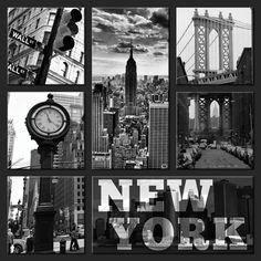 Tableau pentaptyque de new york pont de brooklyn en noir - Tableau noir et blanc new york ...
