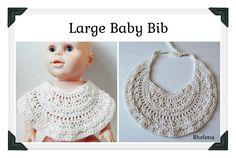Free crochet pattern for a Large Baby Bib.