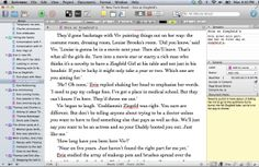 The Notes feature on Scrivener (yellow section) is a handy place to keep jottings of bits you need to add into a scene later.