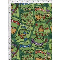 """""""Heroes on the Half Shell"""" tossed on a bright green turtle shell background. www.americasbestthreads.com"""