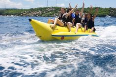 Bali Marine Water Sport Activities Fun Package: Banana Boat, Parasailing and Jet Ski Great value for marine water sport in Bali where you can ride a banana boat, see Bali from the sky by parasailing, and explore a fast ride on the sea with Jet Ski.You will be picked up in the lobby of your hotel (covered area: Kuta, Legian, Seminyak, Nusa Dua, Jimbaran, Sanur ) then drive to Tanjung Benoa, which is a center of water sport activity in Bali. Upon your arrival, you will get brief...
