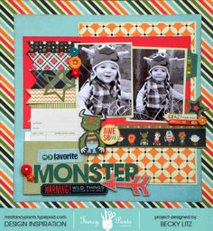 2 photo 1 page Becky Litz fancy pants scrapbook layout stripe Baby Boy Scrapbook, Baby Scrapbook Pages, Scrapbook Sketches, Scrapbook Page Layouts, Scrapbook Paper Crafts, Scrapbook Cards, Scrapbooking Ideas, Picture Layouts, Little Monsters