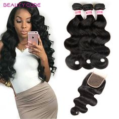 8a grade 3bundles malaysian Virgin Hair With Closure beauty code malaysian body wave With Closure malaysian body wave human hair //Price: $98.56 & FREE Shipping //     #hairextension #style #beauty #woman #love