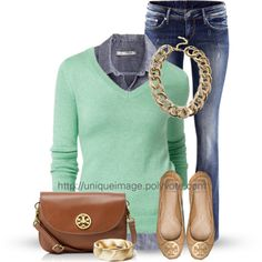 """Mint & Denim."" I am in heaven. Mint is my fav color and those Tory Burch flats...yummy."