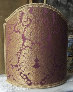 Venetian Lampshade in Rubelli Silk Brocatelle Fabric Tebaldo Amethyst Pattern Half Lamp Shade
