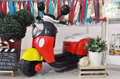 Mickey Mouse-inspired scooter from a Vintage Mickey Mouse Themed Birthday Party via Kara's Party Ideas | KarasPartyIdeas.com (13)