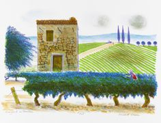 Vineyard In Vaucluse - Bernard Cheese, Lithograph