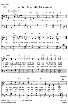 Go, Tell It on the Mountain Gospel Song Lyrics, Great Song Lyrics, Gospel Music, Music Lyrics, Quotes From Songs Lyrics, Music Songs, Christmas Songs Lyrics, Christmas Sheet Music, Church Songs
