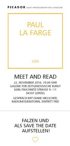 #Reading with Picador Guest Professor Paul La Farge in #Leipzig at Galerie für Zeitgenössische Kunst.