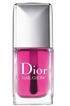 dior's latest nail innovation is this super sheer pink nail glow. an all-in-one nailcare, varnish + glow, it gives nails a pretty petal hue whilst somehow managing to make the tips of your nails even whiter - creating a subtle french manicure effect.