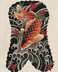 Japanese Artwork, Japanese Tattoo Art, Carp Tattoo, Angry Wolf, Mythology Tattoos, Tribal Tattoos, Irezumi Tattoos, Japanese Koi, Japan Post