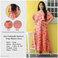 Checkout this latest Dresses Product Name: *Women's Printed Peach Crepe Dress* Sizes: S, M, L, XL Country of Origin: India Easy Returns Available In Case Of Any Issue   Catalog Rating: ★3.9 (4179)  Catalog Name: U&F Fashionable American Crepe Women'S Dress CatalogID_359680 C79-SC1025 Code: 903-2659626-777