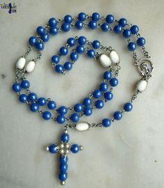 Rosarium Virginis Mariae - Chapelet rosaire aux perles vintage en émaux de Briare et miracle - 31.90€