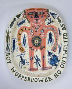 Stephen Bird, Boy Wupperpower Ho Outwitted As. 2001. Earthenware platter The Scottish Gallery, Edinburgh
