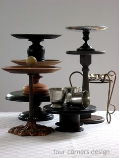 Shows lots of different examples of unused plates, trays, lamp parts, etc. repurposed into pedestals.