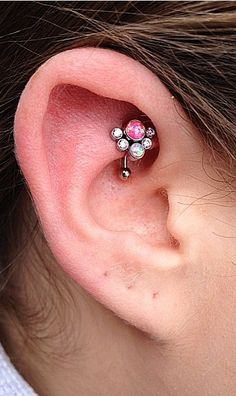 Rook Piercing Information and Inspiration Guide with 21 stunning rook piercing images. Information on rook piercing pain, healing, price, cleaning & care. Rook Piercing, Piercing Ideas, Daith, Ear Piercings, Peircings, Bar Stud Earrings, Silver Hoop Earrings, Silver Ear Cuff, Stone Jewelry