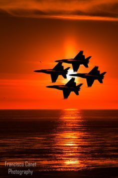 Blue Angels Sunset by Francisco Canet Fighter Pilot, Fighter Aircraft, Fighter Jets, Military Jets, Military Aircraft, Tomcat F14, Us Navy Blue Angels, Photo Avion, Airplane Fighter