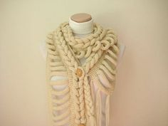 Knit Scarf  GIFT FOR HER  Wrap Warm Beige Braid by beeMAYA on Etsy, $60.00