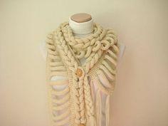 Knit Scarf  GIFT FOR HER  Wrap Warm Beige Braid by beeMAYA on Etsy, $60.00