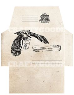 Harry Potter Themed Envelope DIY Printable by CraftyGoode