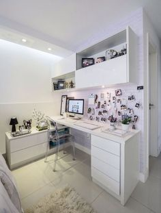 Simple all white home office