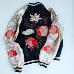 Japanese SCRIPT Classic Kingyo Gold Fish Flowers Embroidery Sukajan Jacket - Japan Lover Me Store