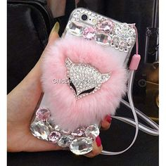 Cute Faux Rabbit Fur Crystal Fox Case Cover for iPhone 6 Plus / 6S Plus 5.5""