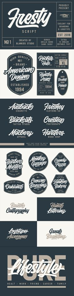 Fresty is awesome for branding and logotype, Fresty has the impression of modern, trendy and elegant. Combined with Grillo Nimo sans serif for a combination and i added extras 13 different emblems / badges with editable text.