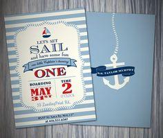 Nautical Blue Stripe 1st Birthday Boy Invitation/Printable Invitation on Etsy, $22.55 AUD