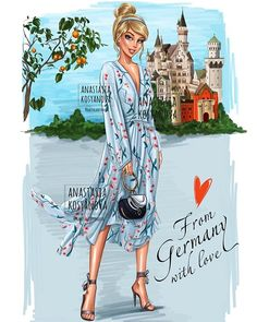 Travel Collection: Cinderella, from Germany with Love by Nastya Kosyanova Disney Princess Outfits, All Disney Princesses, Disney Princess Drawings, Disney Princess Pictures, Disney Drawings, Drawing Disney, Disney Villains, Modern Princess, Princess Style