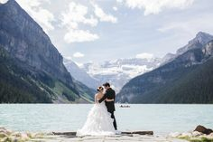 chateau lake louise wedding bride groom