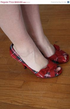 bd04f2651d2c77 RESERVED FOR MARIA vintage plaid heels peeptoe pumps red tartan pin up  bombshell christmas holiday party size 9 euro 41