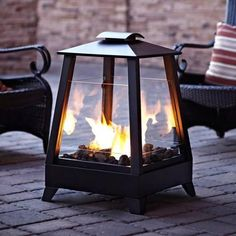 "29"" Coastal Square Outdoor Patio Gel Fireplace with Glass Screens - Black: Heating, Cooling, & Air Quality : Walmart.com"