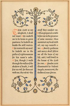 The 23rd Psalm, printed and hand-illuminated by Valenti Angelo http://www.pbagalleries.com/images/lot/1791/179173_0.jpg