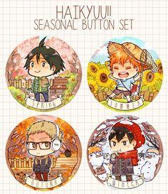 Haikyuu!! ~~ Seasonal Button Set :: Tsukishima Kei, Hinata Shouyou, Kageyama Tobio