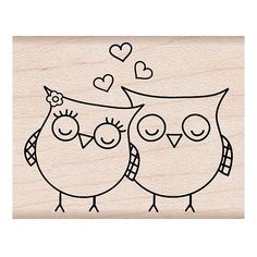 Heart Owls Love Birds Woodblock Craft Stamp by myrubberstamp, $6.50