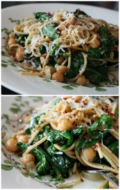 Whole Wheat Spaghetti with Sauteed Chickpeas and Spinach | | Aggie's Kitchen